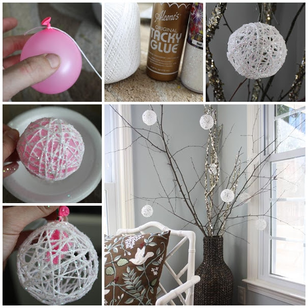 Glittery Snowballs christmas ornament diy F2 Wonderful DIY Yarn Ball