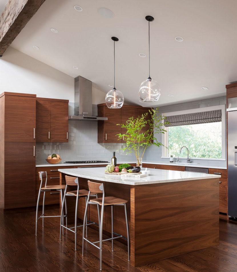 Modern Kitchen Island Pendant Lights Shine Bright in Seattle Home