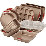Rachael Ray Cucina 10-pc. Nonstick Bakeware Set, Brown/Red