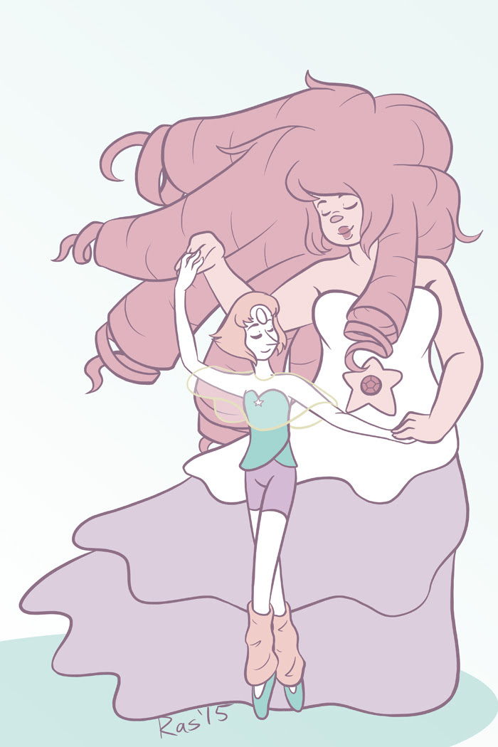 "This last Saturday's prompt was ""dance"" so I drew Rose and Pearl dancing!"