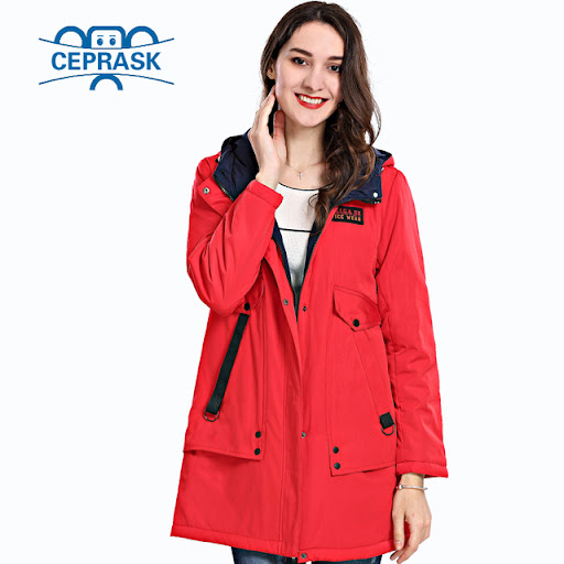 a9cd4ba8c3f63 2018 Spring Autum New Women s Coat Windproof Thin Women Parka Long Plus  Size Hooded Padded Warm Cotton Jackets CEPRASK Hot Sale