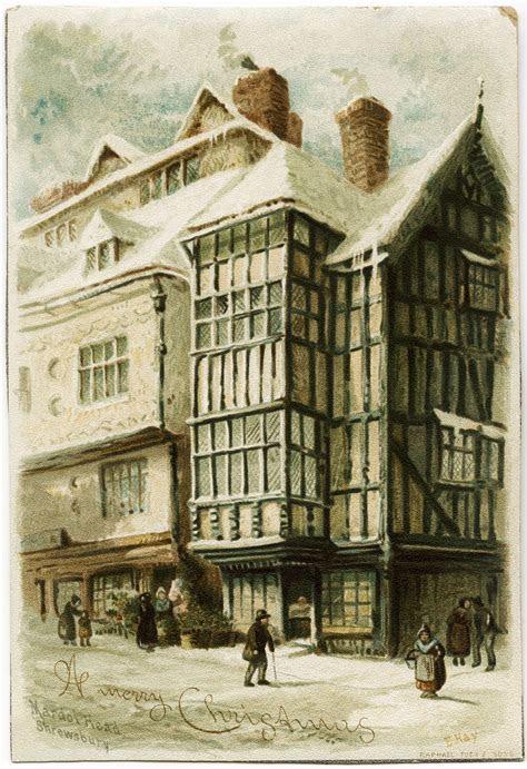 Old City Winter Scene Victorian Tuck Card   Old Design