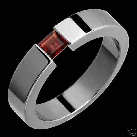Details about Titanium Ring Garnet Tension Set 5mm Wide