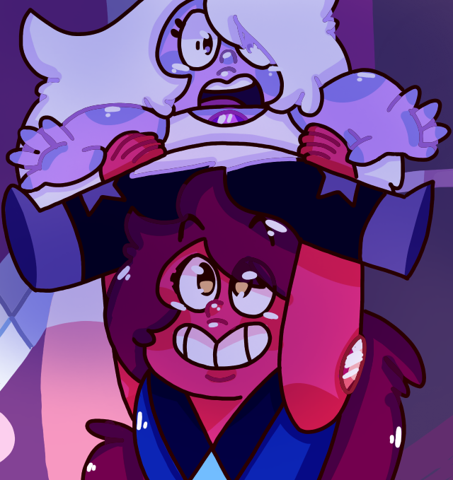 Yeah so... I re-draw that scene/screenshot when Carnelian says: 'I'm not the shortest anymore!!!' It was so cute omfg Amethys, Carnelian and Steven universe belong to Rebecca Sugar~ NOW...