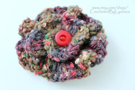 Multicolor Crochet Brooch  3d Crochet Flower  Large Brooch
