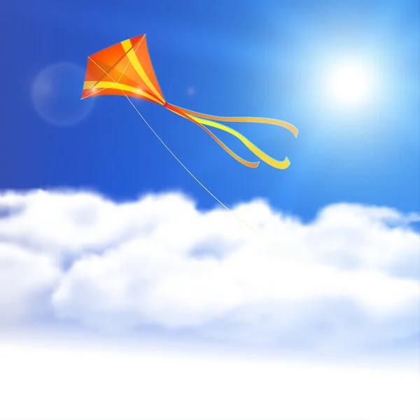 Kite in the Sky. Vector illustration, eps10, editable. — Stock ...