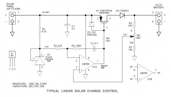 3A Solar Charge Control Schematic