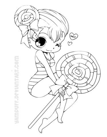 Dibujo De Chica Chibi Con Piruleta Para Colorear Dibujos Para