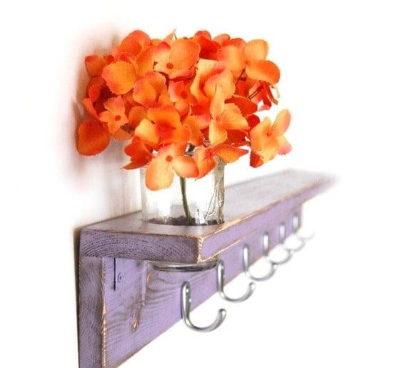 "Wood shelf Shabby chic furniture coat hanger Purple Lilac silver hooks 36"""