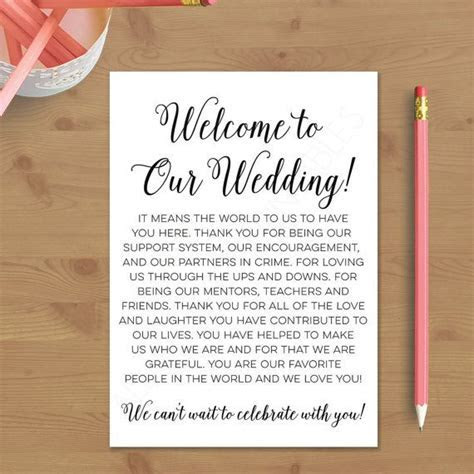 Printable Wedding Welcome Letter Instant by