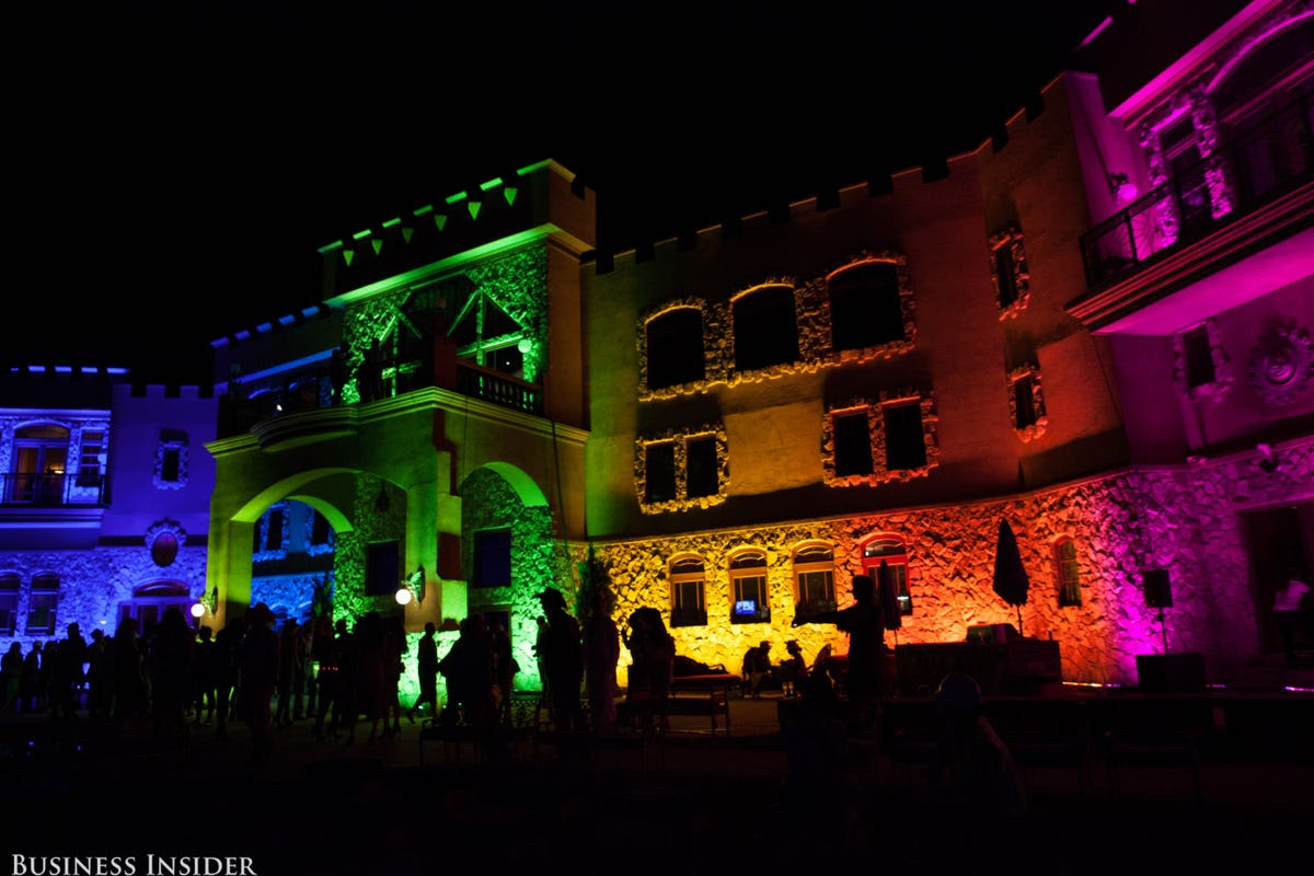 Guests arrived to find Sir Ivan's castle lit up rainbow-style. The Peaceman Foundation, which was founded by Wilzig, focuses on supporting LGBT youth who have been affected by bullying, as well as veterans who suffer from PTSD.