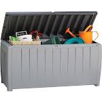 Keter Novel 90-Gallon Plastic Deck Storage Box, Grey/Black