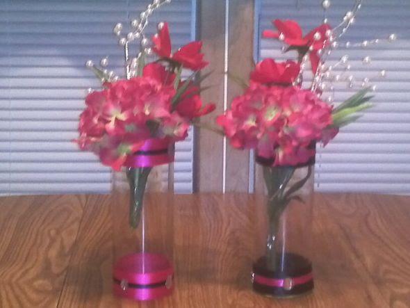 wedding black fuchsia pink white bouquet diy reception Center Pieces