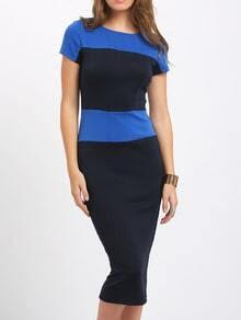 Black Blue Block Zipper Back Bodycon Midi Dress