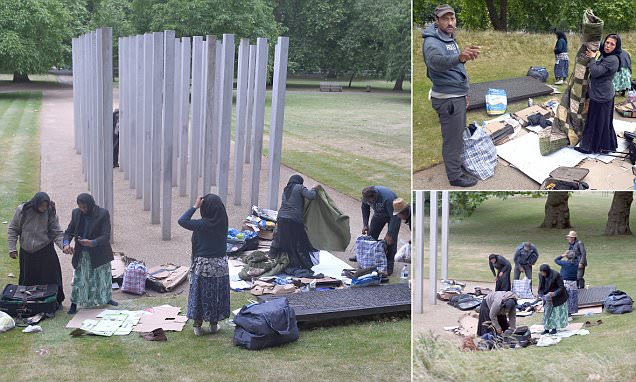Homeless east Europeans camp at Hyde Park  of 7/7 bombing victims memorial