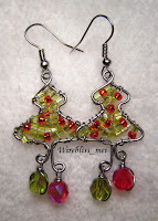 Wire Wrapped Christmas Tree Earring
