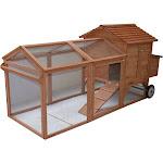 Pawhut Wooden Backyard Hen House Chicken Coop, Brown