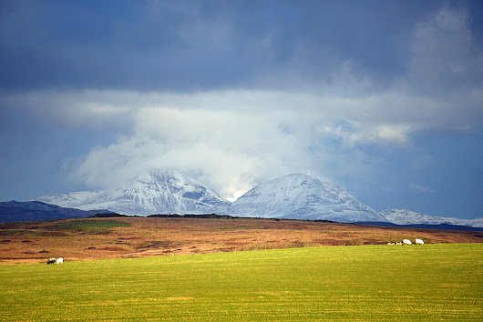 Snowy Paps under heavy clouds, Isle of Islay