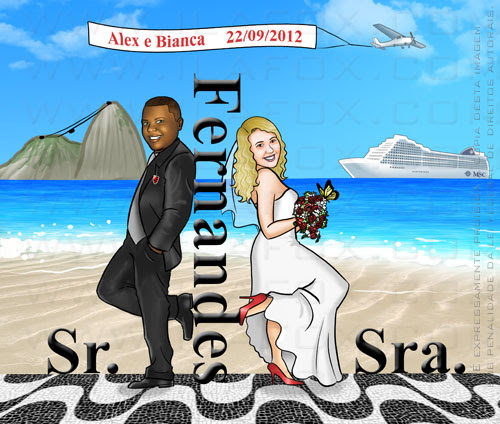 Caricatura noivos, caricatura casal armado, casal na praia, by ila fox
