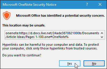 Microsoft OneNote Security dialog box. Evernote to OneNote.