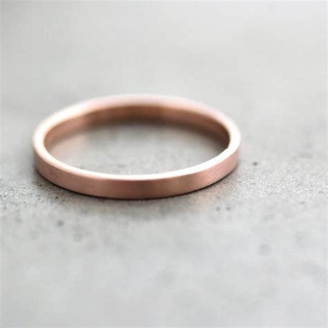 Rose Gold Wedding Band Stackable Ring 2mm Slim Flat Recycled