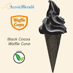 "Black Cocoa Vegan waffle cone 2.16"" x 5.5"" (312 units / Box) by Aussieblends"