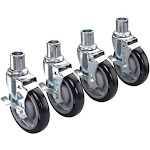 "Krowne 28-151S 5"" Wheel Universal Wire Shelving Casters with Brakes - 4 count"