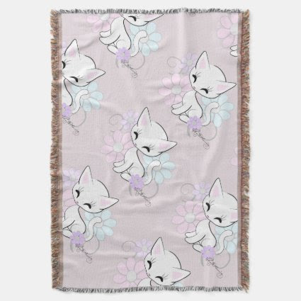 Kitten Girly Pastel Throw Blanket