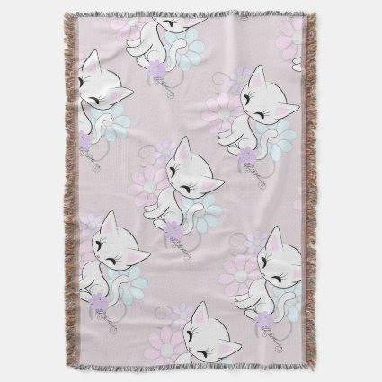 Kitten Girly Pastel Throw Blanket