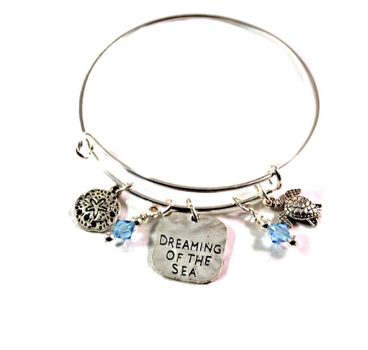 Ocean Sea Turtle and Sand Dollar Bangle Bracelet with Charms and Swarovski Crystals