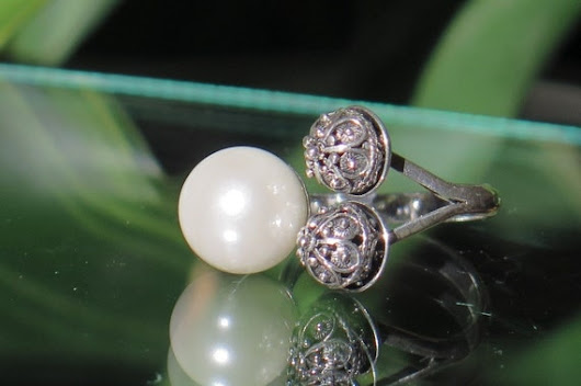 Silver ring-pearl-Os-006-Ag by LotosJewellery on Etsy
