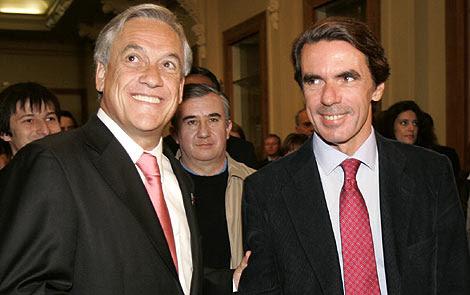 Aznar en Chile con Sebastián Piñera, candidato de la derecha chilena. | AP