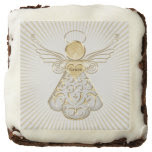 Golden Filigree Christmas Angel of Grace Square Brownie