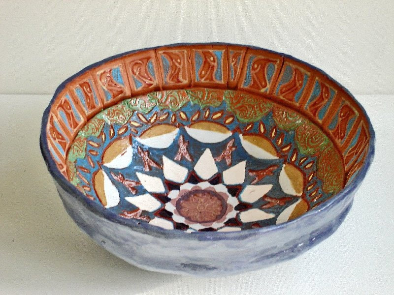 hand painted ceramic pottery star bowl