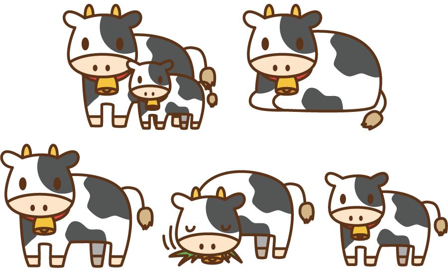 フリーイラスト 5種類の乳牛のセットでアハ体験 Gahag 著作権フリー