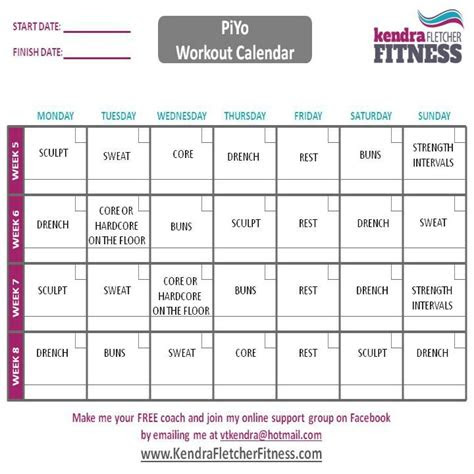 piyo schedule  printable piyo workout calendar