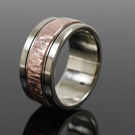 custom  mens white gold  copper wedding band men