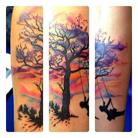 watercolor sunset tattoo tattoos pinterest