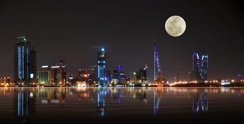 Bahrain Skyline with supermoon
