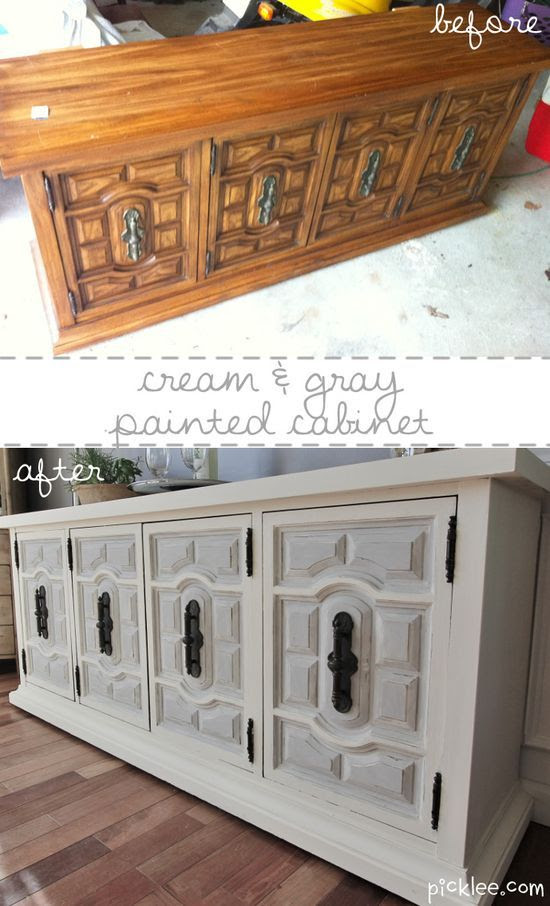 Before and after furniture re-dos..............white and gray painted cabinet before and after