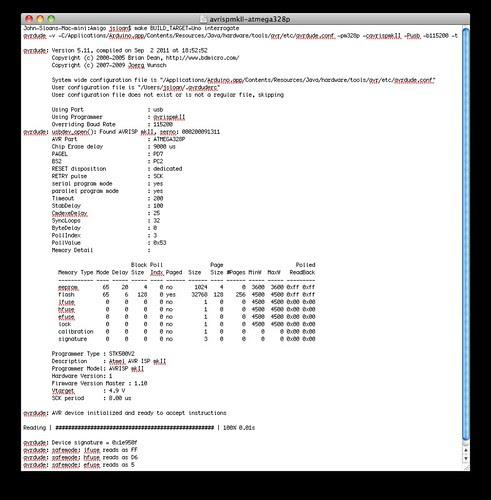 Screen Shot:  avrdude, AVRISP mkII, ATmega328P