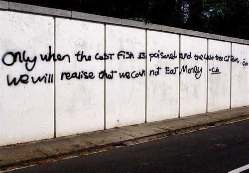 Only when the last fish is poisoned and the last tree cut down, we will realise that we cannot eat money!