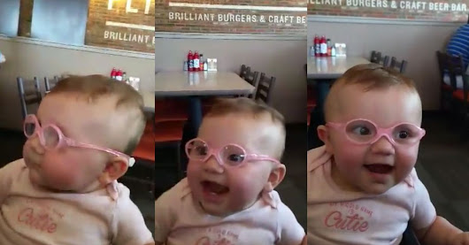 Baby's reaction to seeing clearly for the first time is what your Monday needs
