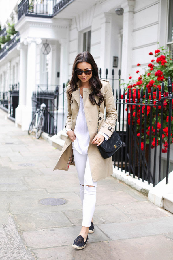 Trench coat with white jeans