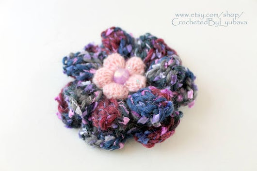 Crochet Big Brooch  3d Flower Brooch  Multicolor Blue Large