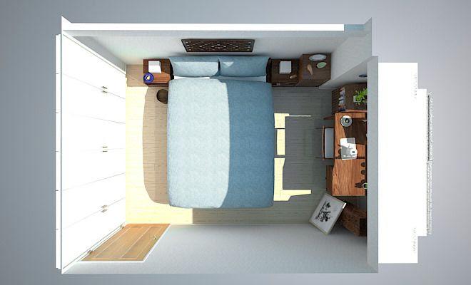 デスクでドレッサー兼用!7畳寝室にダブルベッドをレイアウト ...