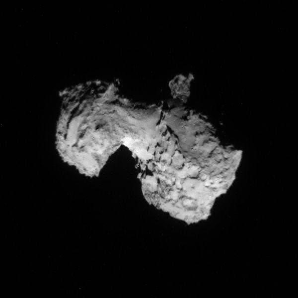 An image of comet 67P/Churyumov-Gerasimenko's nucleus, as seen by ESA's Rosetta spacecraft on August 3, 2014.