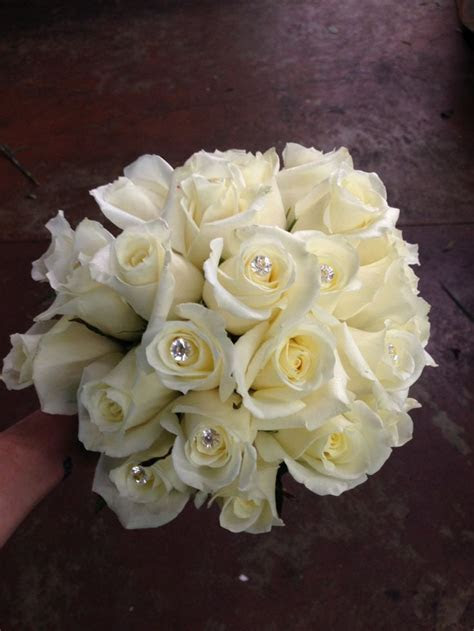 White rose bridal bouquet, classic, diamond accents, bling