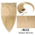 "Tesshair 100% Remy Clip in Hair Extensions Human Hair 3/4 Full Head 1 piece 5 clips Straight for Women ,Bleach blonde,16""-80g"