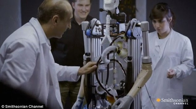 A working heart: Through its clear arteries, the bionic man can be seen pumping blood